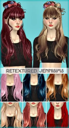 Jenni Sims: Newsea`s Rainbow Gate and Samantha hairstyles retextured - Sims 4 Hairs - http://sims4hairs.com/jenni-sims-newseas-rainbow-gate-and-samantha-hairstyles-retextured/