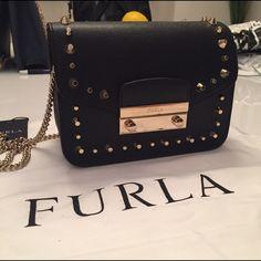 Furla mini tote. NWT Saffiano leather. Black with gold studs. Comes with dustbag. Furla Bags