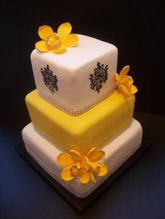 Orchid and Demask Wedding Cake Auckland $650