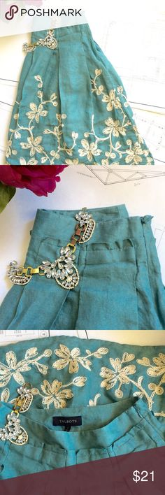 TALBOTS Skirt Gorgeous Talbots linen skirt with beautiful embroidered design. Perfect condition! Talbots Skirts