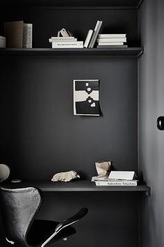 'Minimal Interior Design Inspiration' is a biweekly showcase of some of the most perfectly minimal interior design examples that we've found around the web - Black Painted Walls, Black Walls, Workspace Inspiration, Decoration Inspiration, Interior Design Examples, Interior Design Inspiration, Scandinavian Apartment, Scandinavian Interior, Dark Interiors