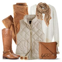 """Tory Burch Boots & Leopard Scarf"" by lgb321 on Polyvore"