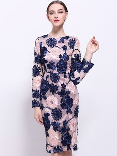 Vintage Embroidery Floral Long Sleeve Bodycon Dress from DressSure.com #dresssure #fashion #dresses #HighQuality