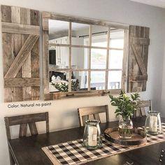 Farmhouse Mirrors, Rustic Mirrors, Farmhouse Interior, Country Farmhouse Decor, Farmhouse Windows, Rustic House Decor, Rustic Modern Living Room, Farmhouse Style, Farmhouse Shutters