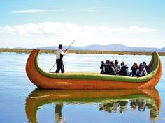 boats made from reeds to the floating islands