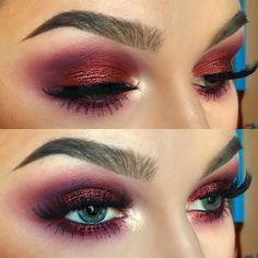 burgundy eye make up, smokey eyes, fake lashes, brows, highlight, foundation, mulotd,bleu eyes, beauty