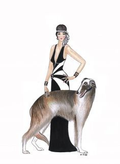1920's dress art lady with dog - Google Search