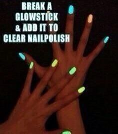 Breaking glow sticks and adding them to clear nail polish, such a great idea!