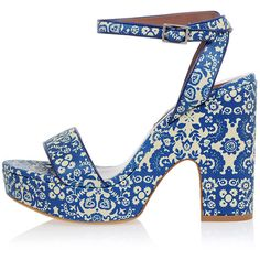 TABITHA SIMMONS Leather Sandals Floral Printed found on Polyvore featuring shoes, sandals, blue, real leather shoes, floral shoes, blue leather sandals, blue shoes and blue sandals