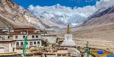 Photo about Rongbuk monastery with mount everest in the background, shigatse, tibet. Everest Mountain, Big Mountain, Travel Tours, Travel Guide, Travel Destinations, Tibet, Nepal, Audley Travel, Beau Site
