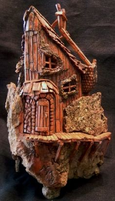Cottonwood Bark Gnome House with wrap-around walkway.  Carved by N. Minske.