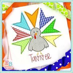 Turkey Boy Bean Stitch Applique Design