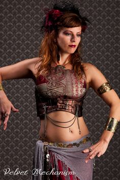 Steampunk Harness Metallic COPPER Faux Leather Underbust Bodice with Silver Gears, Buckles, Chain, and Antique Keys by Velvet Mechanism