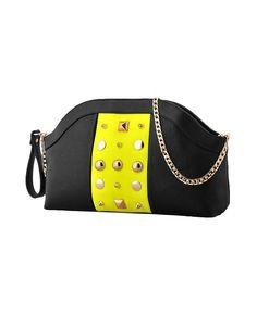 Studded Color-block PU-leather Shoulder Bag