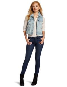 Amazon.com: Levi's Women's Selvedge Cropped Boyfriend Jean Vest: Clothing