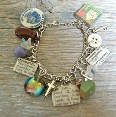 Funky Chunky Charm Bracelet - Faith Strength Courage - Cancer Survivor - Upcycled Recycled - Art by Heather - Ready To Ship