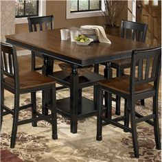 Signature Design By Ashley Owingsville Square Dining Room Counter Extension Table With Storage
