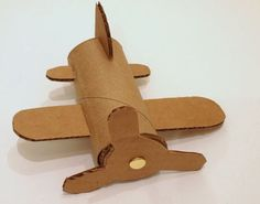 "Airplane Craft from toilet paper roll - great first day project to help decorate our ""travel"" themed room Crafts For Boys, Craft Activities For Kids, Toddler Crafts, Diy For Kids, Toddler Art, Literacy Activities, Cardboard Airplane, Airplane Crafts, Art N Craft"