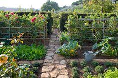 Verdure, legumi e fiori mescolati e chiusi da alte e protettive siepi di alloro, sono parte di grandi e piccole stanze. Capalbio, Grosseto. Progetto: Paolo Cattaneo. Foto di Dario Fusaro
