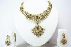 Indian Bollywood Gold Tone Designer Women Necklace Pendant Earrings Set Jewelry #Handmade