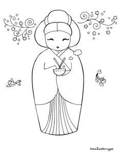 coloriage poupee japonaise numero 3                                                                                                                                                                                 Plus