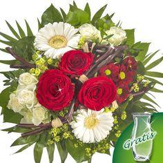 Blumenstrauß Bella mit Vase  Ein Traum in Rot und Weiß.  Ihr Blumengruß besteht aus 3 roten Rosen, 2 verzweigten weißen Rosen, 1 bordeauxfarbenen Chrysantheme Santini, 2 weißen Germini, 1 Alchimella, 3 Pistochia, 5 Salal, 5 Chicco und 5 dunkelbraunen Zweigen. Der Durchmesser beträgt ca. 30 cm. Dazu erhalten Sie einen Beutel Blumennahrung und eine Pflegeanleitung.