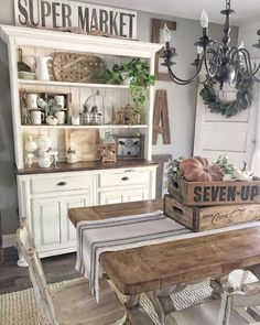 170 wonderful farmhouse style dining room design ideas 47 Hometwit com is part of Dining room hutch - Country Farmhouse Decor, Modern Farmhouse Kitchens, Farmhouse Kitchen Decor, Kitchen Dining, Kitchen Cabinets, Farmhouse Ideas, Farmhouse Chic, Rustic Decor, Vintage Farmhouse