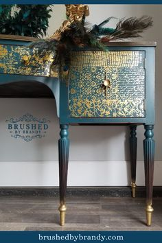 I absolutely love how the Gilded Distressed Wall gold foil transfer and gold leaf pop off the mix of Bunker Hill, Palmetto, and Evergreen chalk paint for this gorgeous Peacock Buffet furniture makeover! #brushedbybrandy #blendlikebrandy | Learn How to Paint Furniture | Colorful Painted Furniture | Teal Buffet| Gold Leaf | Gold Painted Furniture | Gold Furniture Transfers | Learn to Paint Furniture Tutorial | Furniture Flips | Furniture Before and After | Blue Buffet Table | Turquoise…