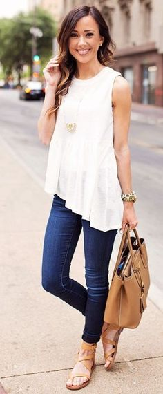 #summer #ultimate #outfits |  White Peplum + Denim