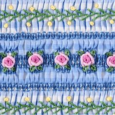 more smocking on gingham with bullion roses. Absolutely beautiful!
