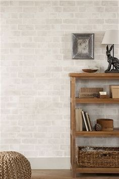 Buy Natural Bricks Wallpaper from the Next UK online shop – Hazir Site Brick Wallpaper Feature Wall, White Brick Wallpaper, Striped Wallpaper, Feature Walls, Condo Living, My Living Room, Living Spaces, My New Room, My Room