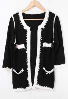 Black Rhinestone Pearls Cardigan Wool Coat