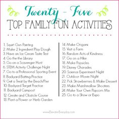 This list of 25 Family Activities will keep your kiddos happy and entertained all Summer long. This is the very best list you will find.