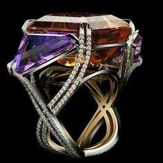 One-Of-A-Kind ALEXANDRA MOR asymmetrical Bicolor Ametrine & Diamond Three Stone Ring Image from @alexandramorstudio