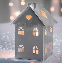 Décoration de Noël : Lanterne maison argenté en métal - coloris argent #deconoel #bougienoel #francoisesaget