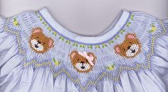 Teddy Bear Bishop by Cross Eyed Cricket buy at smocking bonnet store: Smocking Baby, Smocking Plates, Smocking Patterns, Embroidery Patterns, Hand Embroidery, Sewing Patterns, Dress Patterns, Smocked Baby Clothes, Smocked Clothing