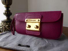 89a827640e3d Miu Miu Wristlet Clutch in Peonia Pink Madras Leather -SOLD