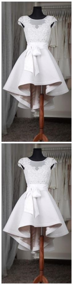 White Lace Short Homecoming Dress For Teens,Classy