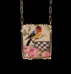 Broken china jewelry necklace by Dishfunctional Designs.  robin and roses