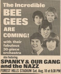 1968 Concert Ad for The Bee Gees (then a 5-member group) with Spanky & Our Gang and The Nazz