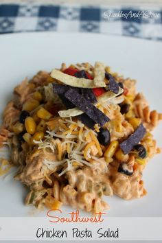Summer Ready Southwest Chicken Pasta Salad...sub whole wheat pasta, 2 grilled boneless, skinless chicken breasts with homemade taco seasoning, 1/2c no salt black beans, 1/c corn, use southwest dry mix, 1/2c fat free greek yogurt, no tortilla strips for topping and only 1/4c reduced fat mexican cheese. CUTS 300 Calories!
