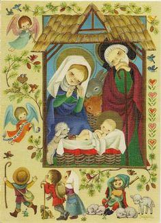 Juan Ferrándiz. Joy to the world! Nativity Crafts, Christmas Nativity, Christmas Past, Xmas, Victorian Christmas, Vintage Christmas Cards, Photo Postcards, Vintage Postcards, Christmas Illustration
