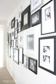 Crazy Wonderful: hallway gallery wall, mixed frame photo wall, black and white gallery wall