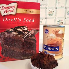 * Incredible Cupcakes!  1 Cake mix + 15 oz. can of pumpkin  Just combine cake mix and pumpkin. Spoon into cupcake liners. Then bake @ 350 for about 20 minutes