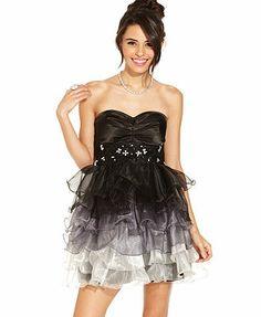 B Darlin Juniors Dress, Strapless Studded Ruffled Ombre