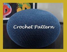 Crochet Pattern DIY Tutorial Large Crochet Pouf Poof Ottoman Footstool Home Decor Pillow Bean Bag Floor cushion
