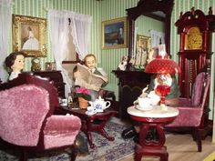 The parlor in Greg's Syosset house is also a Victorian delight with deep mahogany furniture and lots of gilt.