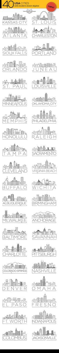 40 USA Cities Linear Skyline - Icons