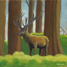 Deer in the forest  Painting by Ester Al