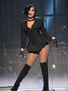 Demi Lovato performing at the American Music Awards 2015.
